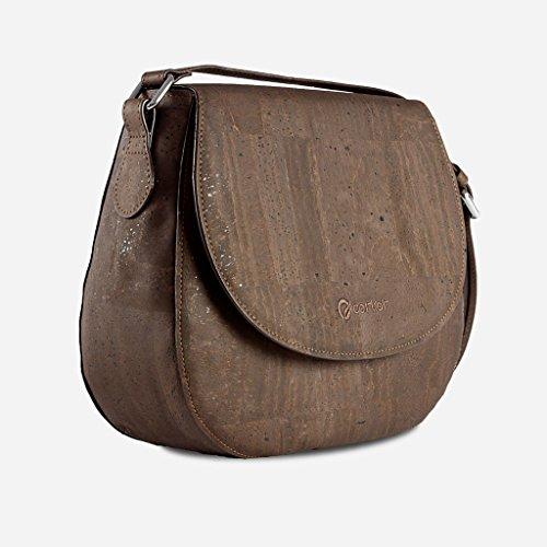 Corkor Veganer Schultertasche Böhmischen Umhängetasche Damen Geldbeutel Handtasche Natur-Leder Natur - Saddle Bag - Beuteltasche aus Veganem Leder Braun - 3