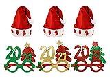 Pack 6 Gorro de Papá Noel con Luz Intermitente y Marco de Gafas de Fiesta Año Nuevo 2021 Manualidades Accesorios de Navidad