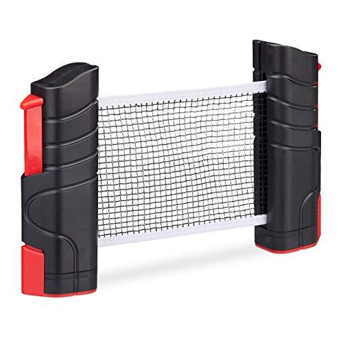 Relaxdays ausziehbares Tischtennisnetz, bis 176 cm Netzbreite, mit Klemmhalterung, für Tische bis 5cm Dicke, schwarz/rot
