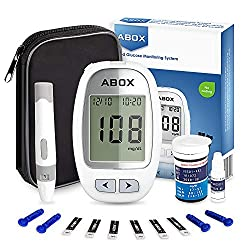Image of Blood Glucose Meter Kit, ABOX Glucose Monitoring Kit Diabetes Testing Kit with 25 Test Strips, 25 Lancets and Everything You Need to Test Blood Sugar Level: Bestviewsreviews