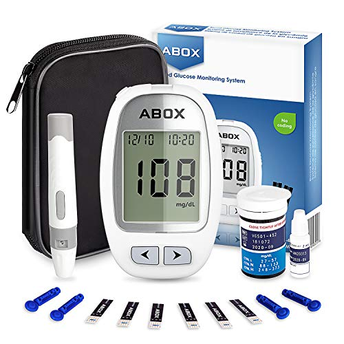 Blood Glucose Monitoring Kit, ABOX Diabetes Testing Kit Glucose Meter Kit with with 25 Test Strips, 25 Lancets and Everything You Need to Test Blood Sugar Level …