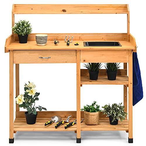 COSTWAY Gärtnertisch Holz, Pflanztisch Garten Arbeitstisch Gartentisch mit Haken, Waschbecken, Schublade, Holzpflanztisch für Garten Balkon...