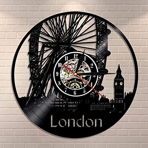 KDBWYC Reloj de Pared de Vinilo lámpara Hueco Tallado Noria de Londres Mural Reloj de Pared London Eye británico Big Ben decoración Regalo de Londres