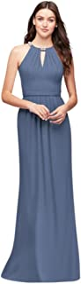 Crepe Halter Bridesmaid Dress with Beaded Neckline Style F19672