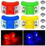 4 Luces de Proa de Barcos Luces de Navegación de Barcos LED con 5 Pilas de Botón para Barco Kayak Pontón Aerodeslizador Yate Motora Caza Pesca Correr de Noche (Rojo, Verde, Amarillo, Azul)