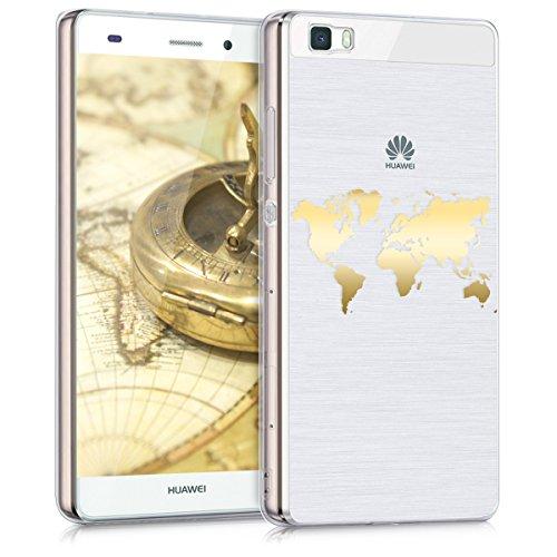 kwmobile Hülle kompatibel mit Huawei P8 Lite (2015) - Handyhülle - Handy Case Travel Umriss Gold Transparent