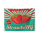 ABAKUHAUS Obst Wandteppich, Retro Poster Süsse Erdbeeren,