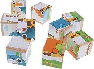 Generic Wooden Puzzle Building Blocks Farm Animals DIY Puzzle Toys - Blue Elephant, as described