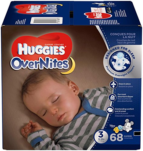 HUGGIES OverNites Diapers, Size 3 (16-28 lb.), 68 ct, Overnight Diapers
