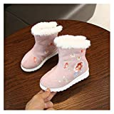 YUTJK Unisex Pantofole Casa/Esterno in Memory Foam - Calde Leggere Morbide Comode e Antiscivolo,Scarpe da Ballo in Cotone Ricamato per Bambina-Rosa1_15CM