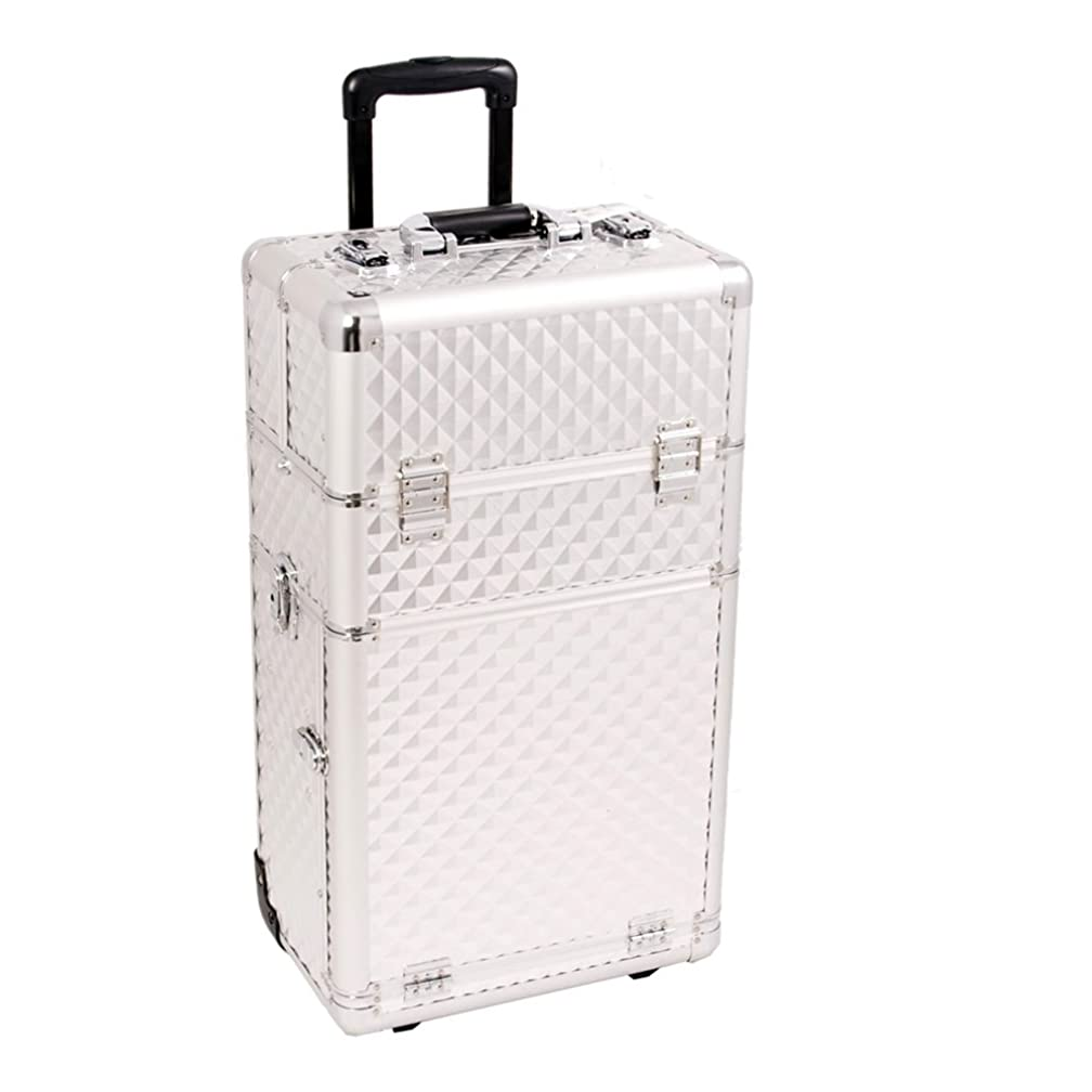 Craft Accents I3462 Diamond Trolley Craft/Quilting Storage Case, Silver