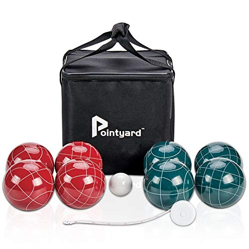 Pointyard 107mm Bocce Ball Set, Official Bocci Ball Set with 8 Resin Bocce Balls,1 Pallino,NylonCarrying Bag,Measuring Tape - Tournament Adult Bocce Game for Outdoor/Yard/Lawn/Beach (Red and Green)