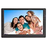 Arolun Digital Photo Frame10 Inch, 1920 x 1080 IPS Screen Digital Picture Frame, Support 1080P Video, Builtin Calendar, Clock and Alarm, Remote Control, Breakpoint Memory Play (Wood grain)