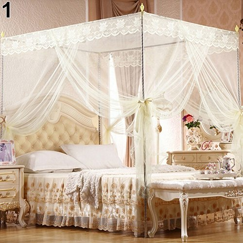 Baost Romantic Princess Lace Canopy Mosquito Net No Frame Mosquito Bed Canopy Net 4 Corner Square Princess Fly Screen Tent for Adults &Girls Boys Twin Full Queen King Bed Beige Twin