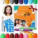 Glamador 16 Colors Face Paint Crayon Kits with 2 Hair Chalk