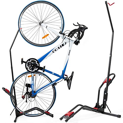 COSTWAY Bike Stand, Floor Bicycle Storage Rack with Adjustable Height, Space Saving Cycling Holder for Mountain Bikes, Road Bikes