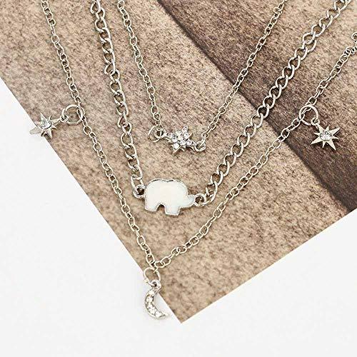 Jovono Bohemia Collares de múltiples capas Diamante Seis puntas Estrella Luna Elefante Colgante Collar Cadena Joyas para Mujeres y Niñas (Plata)