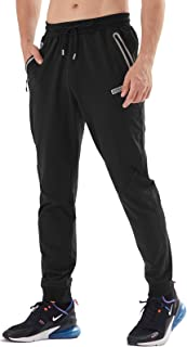 AIRIKE Mens Slim-Fit Jogger Fitness Pants with Zipper Pockets for Gym Athletic Training Workout