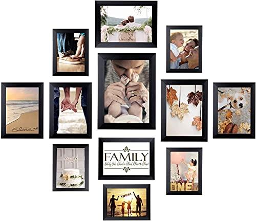 12-er Bilderrahmen Set Fotorahmen Collage Schwarz - Fotocollage für Tisch und Wohnkultur 10*15cm-5Stk/13*18cm-4Stk/15*20cm-2Stk/20*25cm-1Stk