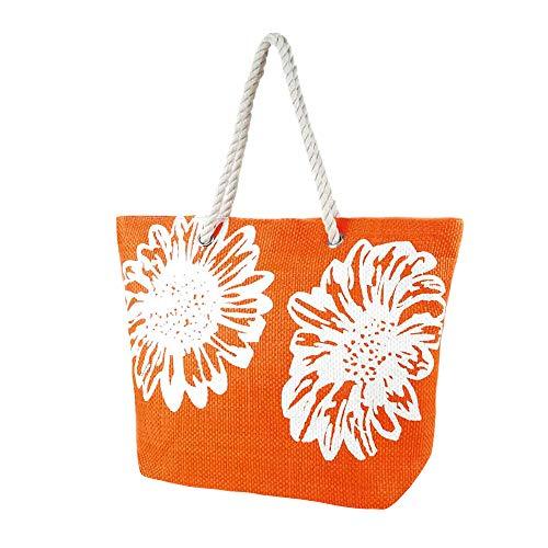 Bolsa de verano/de playa con estampado de flores para mujer (Talla Única) (Naranja)