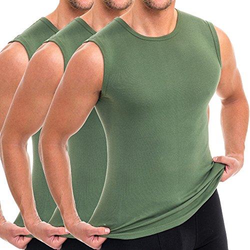 HERMKO 3040 3er Pack Herren Tank Top Unterhemd mit Rundhals-Ausschnitt, Größe:D 7 = EU XL, Farbe:Olive