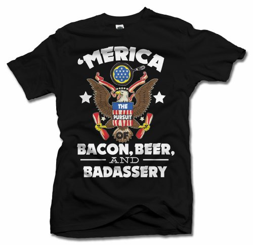 AM T-Shirts 'MERICA BACON, BEER, AND BADASSERY FUNNY AMERICA T-SHIRT L Black Men's Tee (6.1oz)