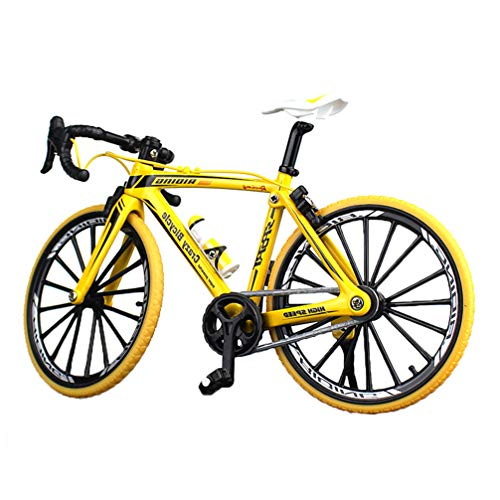 NUOBESTY Mini Bicicleta Dedo Bicicleta Juguetes de Metal en Miniatura Mini Deportes Dedo Bicicleta Juguete Juego Creativo Conjunto de Juguetes Colecciones (Agarre Curvo Amarillo)