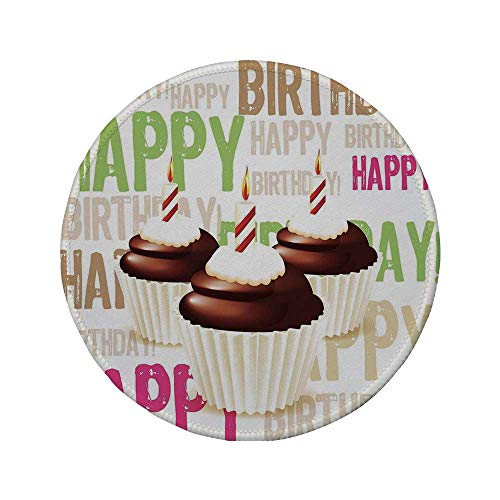 Rutschfreies Gummi-rundes Mauspad Geburtstagsdekorationen Grunge Happy Birthday-Muster mit drei Schokoladen-Cupcakes-Kerzen mehrfarbig 7.9