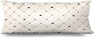Ahawoso Zippered Body Pillow Cover 20x60 Inches Diamond Pattern Modern Sample Tiling Recurring Abstract Geometric Line Endless Infinity Fine Flat Decorative Cushion Case Home Decor Pillowcase