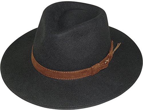 Harrys-Collection Rollbarer Hut mit breiter Krempe braunes Stoffband in 3 Farben!, Farben:schwarz, Kopfgröße:59