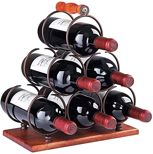 HappyBeeYo Portable Tabletop Metal Wine Rack Countertop 6 Bottles Wine Holder with Sturdy Wood Handle,3-Tier Classic Design,Easy to Assemble