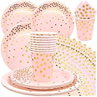 set di stoviglie di carta piatti di carta usa e getta da festa, rosa di stoviglie per addio al nubilato compleanni matrimonio nascita battesimo party (40 pezzi)
