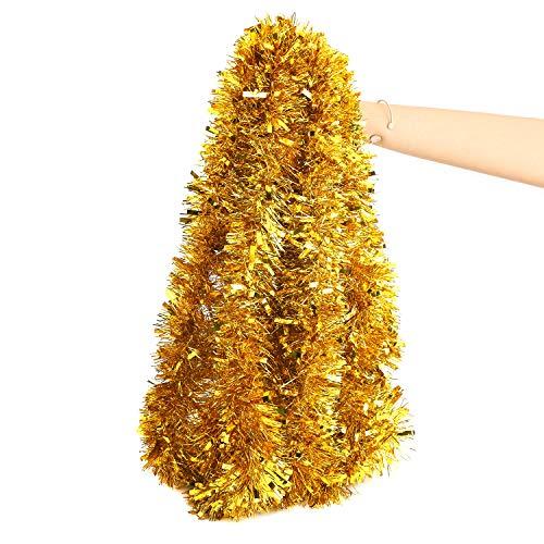 LOKIPA Gold Christmas Tinsel Garland,10M Xmas Metallic Chunky Tinsel Garland for Christmas Tree Decorations Supplies