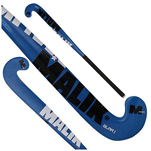 Field Hockey Stick Slam J Blue, Black, and Silver Outdoor Wood Multi Curve - Quality: Pluto J, Head Shape: J Turn (35 Inches Length)