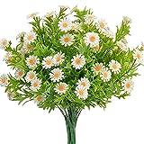 Plantas decorativas al aire libre 6 unids margaritas flores artificiales al aire libre flores falsas verdes flores de plástico arbustos para la decoración de la mesa de comedor en casa Jardín, balcón,