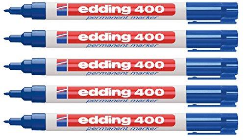 Permanentmarker Edding 400, navulbaar, ronde punt, schacht kunststof, blauw, pak van 5