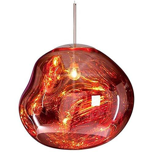 Lampadario Lampada a sospensione moderni Melt Lampade a Sospensione Luci Vetro Lava Specchio in Rame Irregolare Soggiorno Lampade a Sospensione per Bar, Cucina, Soggiorno, Rosso