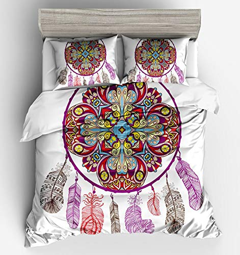 MGORJGR 3pcs Flower Bohemia Bedding Set Duvet Cover Twin Full Queen King Size Colorful Quilt Cover Pillowcase