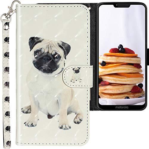 CLM-Tech Hülle kompatibel mit Motorola Moto G7 Power - Tasche aus Kunstleder - Klapphülle mit Ständer & Kartenfächern, Mops