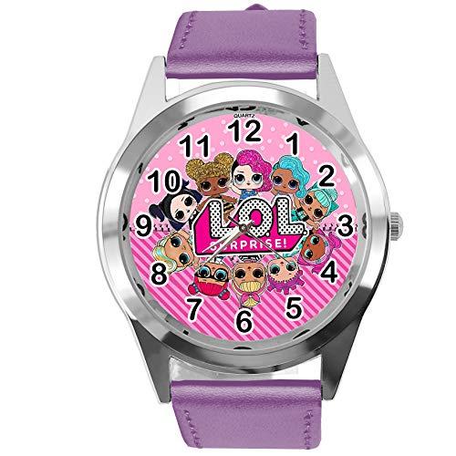 Armbanduhr Analog Quarz mit Echtlederband violett rund für Puppenfans