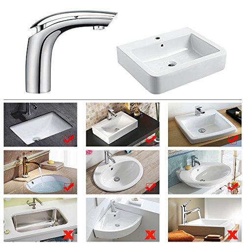 Homelody Wasserhahn Bad Einhebelmischer Mischbatterie Chrom Waschbecken Armatur Waschtischbatterie Waschtischarmatur Badarmatur - 4