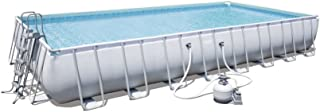 Bestway Power Steel Frame Pools - Piscina rectangular con filtro de arena no incluido, alfombra de suelo, lona y escalera 9.56 x 4.88 x 1.32 m