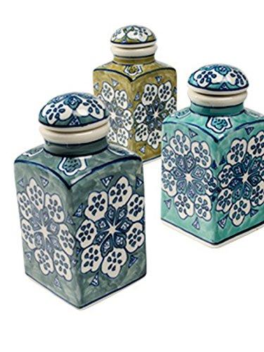 Barattoli portaspezie in ceramica, commercio equo e solidale, dipinte a mano, dimensioni: 6 x 6 x 13 cm verde scuro