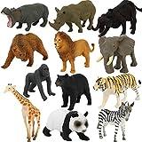 DIYARTS 12 Piezas de Simulación de Dinosaurio / Océano / Juego de Modelos de Vida Silvestre Mini Kit de Juguetes de Animales Educativos para Niñas y Niños de 3 a 6 Años (Wild Animals)