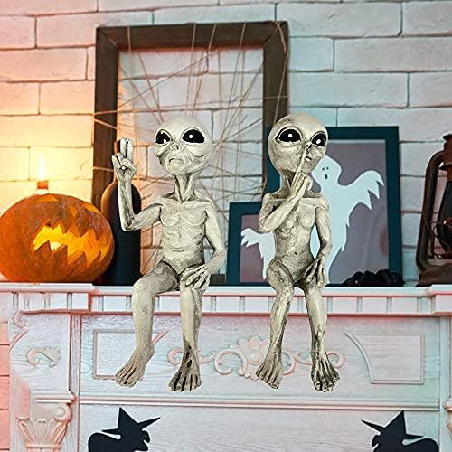joycabin 2pcs Statua Aliena da Giardino, Alieno Statua, Mini Statuetta Artistica in Resina Decorazione, Scultura in Resina per Ufficio a Casa Decorazione da Scrivania o il Giardino