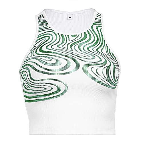 FrüHling Und Sommer Damen Casual Fashion Rundhals Wellpappe Druck Slim Stretch Stretch äRmellose Weste T-Shirt Top Damen