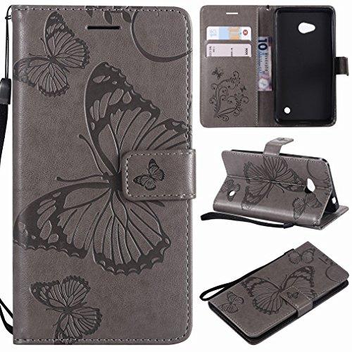Laybomo für Microsoft Lumia 640 LTE Ledertasche Schuzhülle Weiches TPU Silikon Slim Flip Cover Magnetisch Brieftasche Schale Handyhülle für Lumia 640 LTE mit Kartensteckplatz, 3D Schmetterling (Grau)