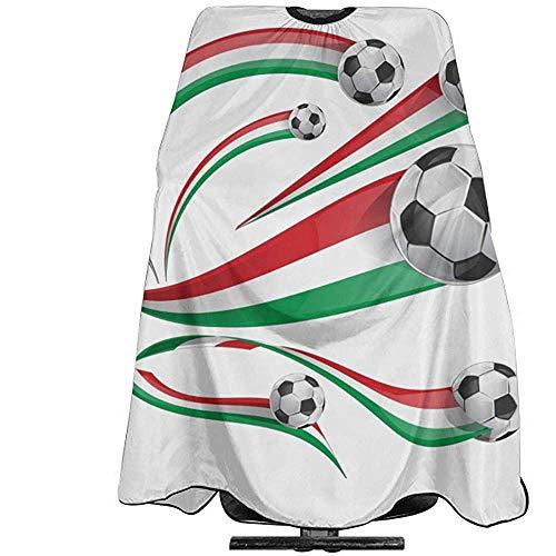 Italienische mexikanische Flagge mit Fußball-Haarschnitt-Schutzblech-Salon-Kap-Abdeckungs-Unisexfriseur-Friseur-Kap-Friseur-Kleid