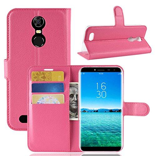 LMFULM® Hülle für OUKITEL C8 3G / 4G (5,5 Zoll) PU Leder Magnetverschluss Brieftasche Lederhülle Handytasche Litschi Muster Standfunktion Ledertasche Flip Cover für OUKITEL C8 Rose Rot
