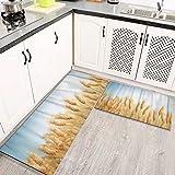 Alfombras Cocina Lavable Antideslizante Cultivo Azul Campo de Trigo Dorado y Archivo de día Soleado Pan de Cereal de Cebada amaril Alfombrilla de Goma Alfombra de Baño
